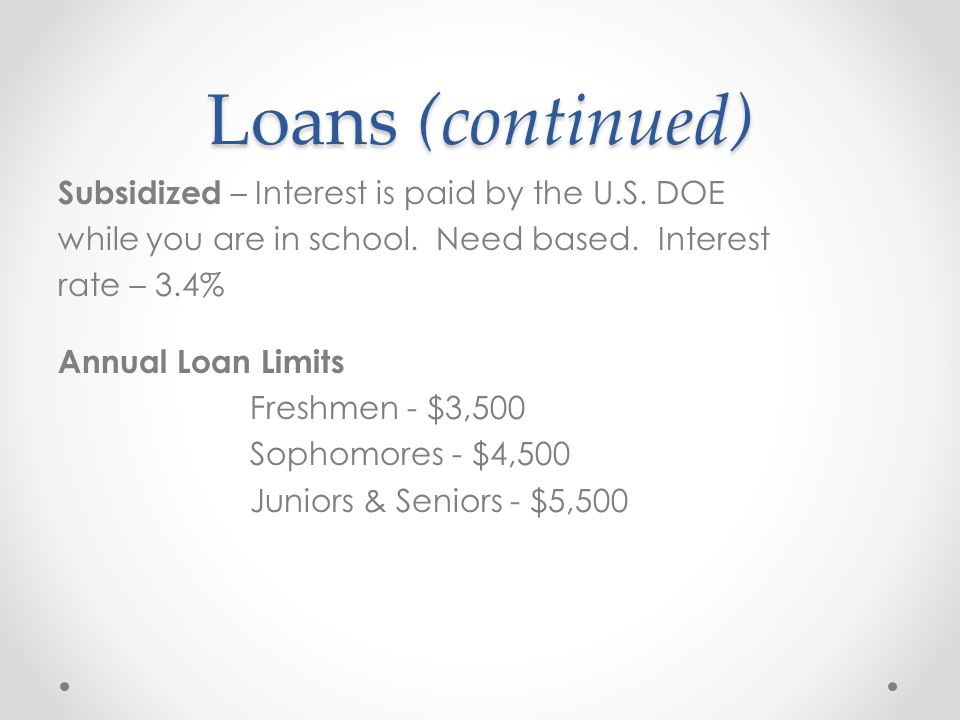Loans (continued) Subsidized – Interest is paid by the U.S.