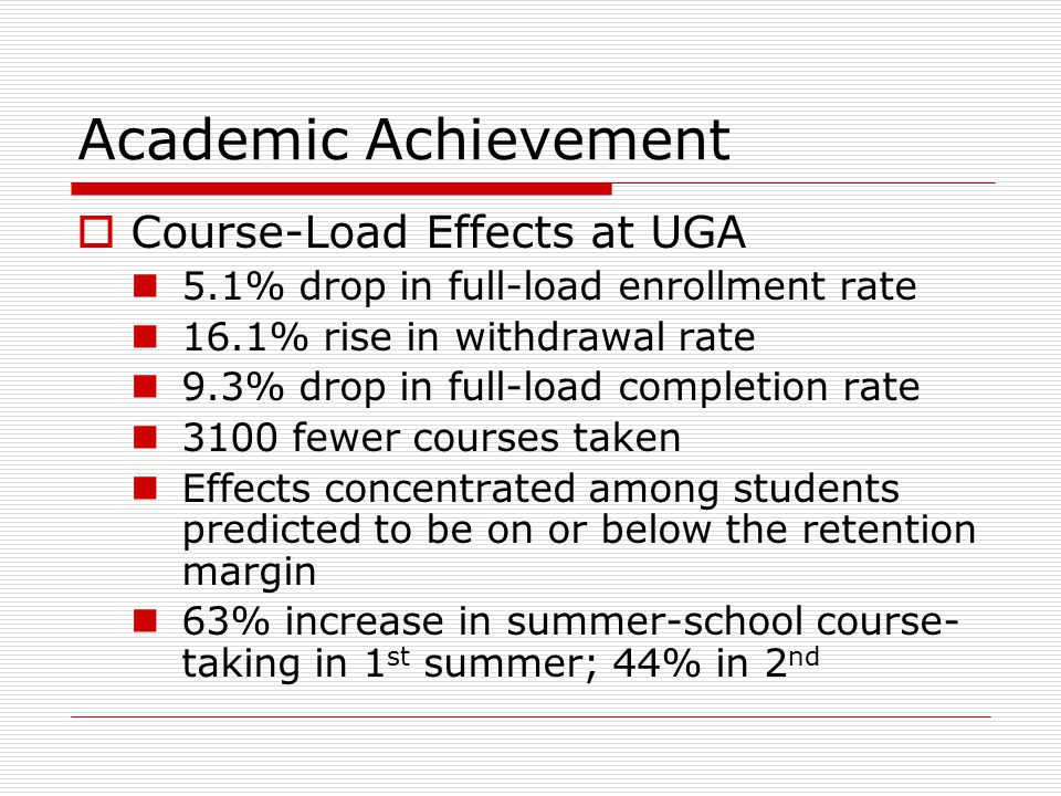 Academic Achievement  Course-Load Effects at UGA 5.1% drop in full-load enrollment rate 16.1% rise in withdrawal rate 9.3% drop in full-load completi
