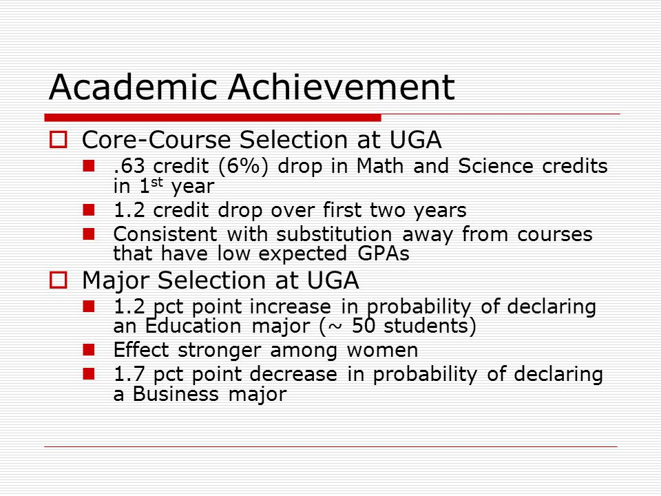Academic Achievement  Core-Course Selection at UGA.63 credit (6%) drop in Math and Science credits in 1 st year 1.2 credit drop over first two years