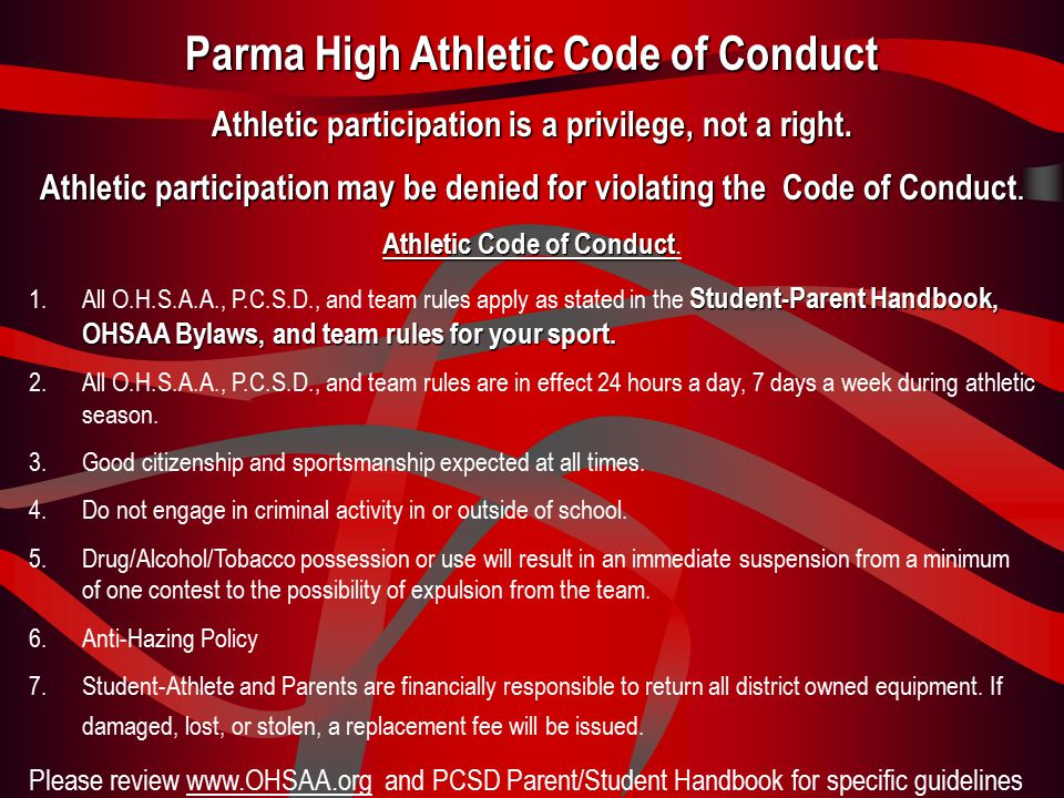 Parma High School Contact Information The Athletic Department Office is located next to the Fitness Center.