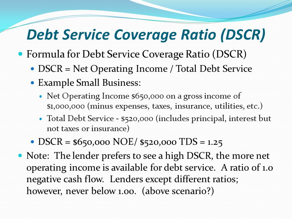 Debt Service Coverage Ratio (DSCR) Debt Service Coverage Ratio (DSCR) ~compares net operating income to the total cost of debt.