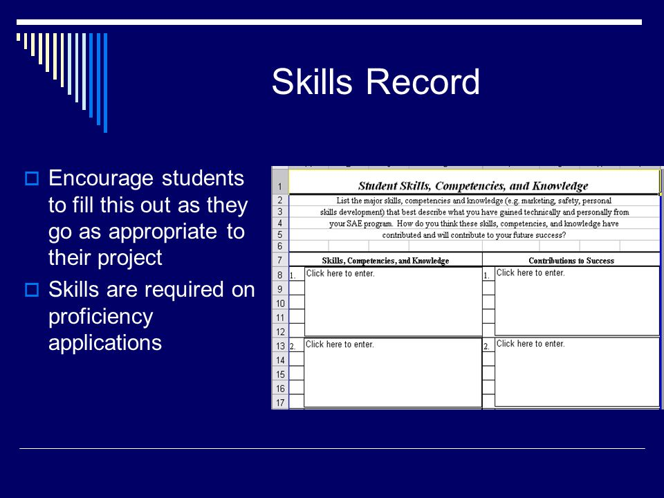 Skills Record  Encourage students to fill this out as they go as appropriate to their project  Skills are required on proficiency applications