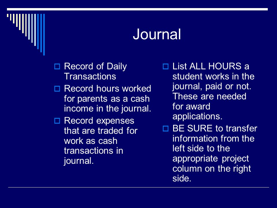 Journal  Record of Daily Transactions  Record hours worked for parents as a cash income in the journal.