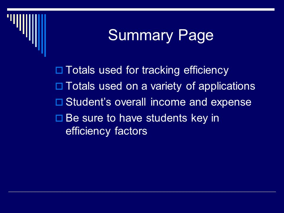 Summary Page  Totals used for tracking efficiency  Totals used on a variety of applications  Student's overall income and expense  Be sure to have students key in efficiency factors