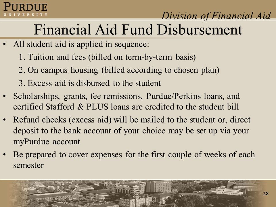 Division of Financial Aid 28 Financial Aid Fund Disbursement All student aid is applied in sequence: 1.
