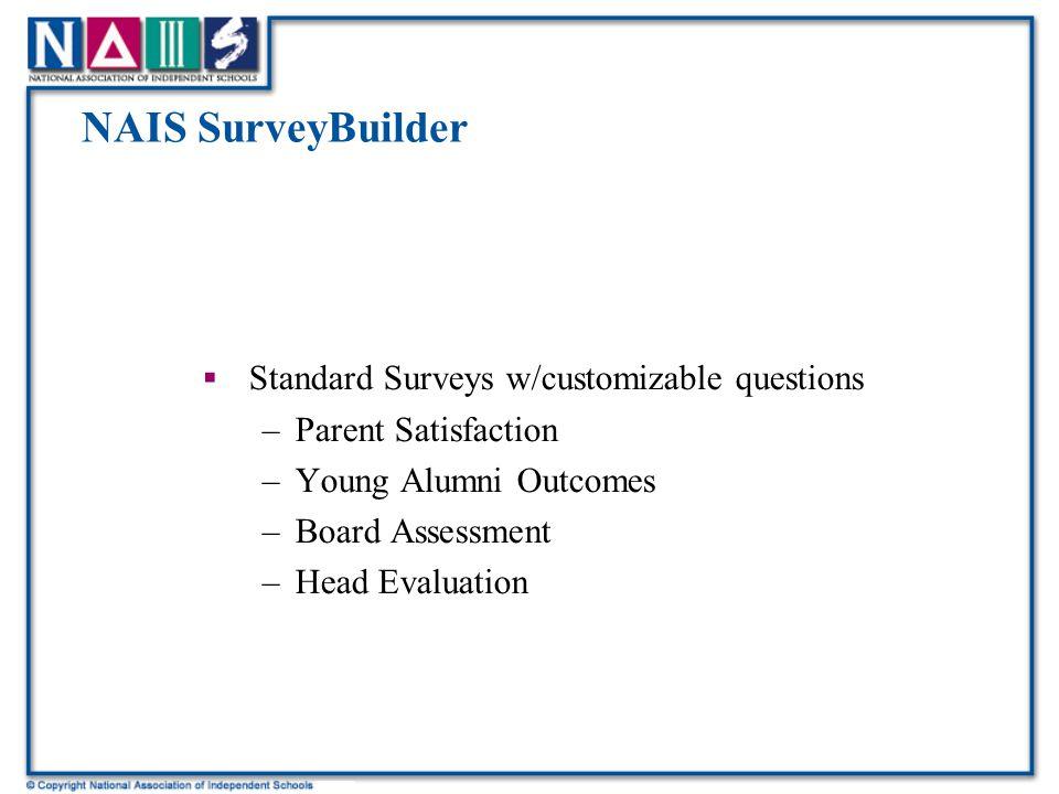 NAIS SurveyBuilder  Standard Surveys w/customizable questions –Parent Satisfaction –Young Alumni Outcomes –Board Assessment –Head Evaluation