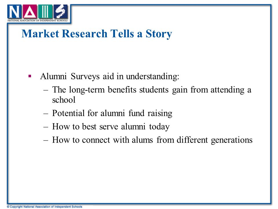 Market Research Tells a Story  Alumni Surveys aid in understanding: –The long-term benefits students gain from attending a school –Potential for alumni fund raising –How to best serve alumni today –How to connect with alums from different generations