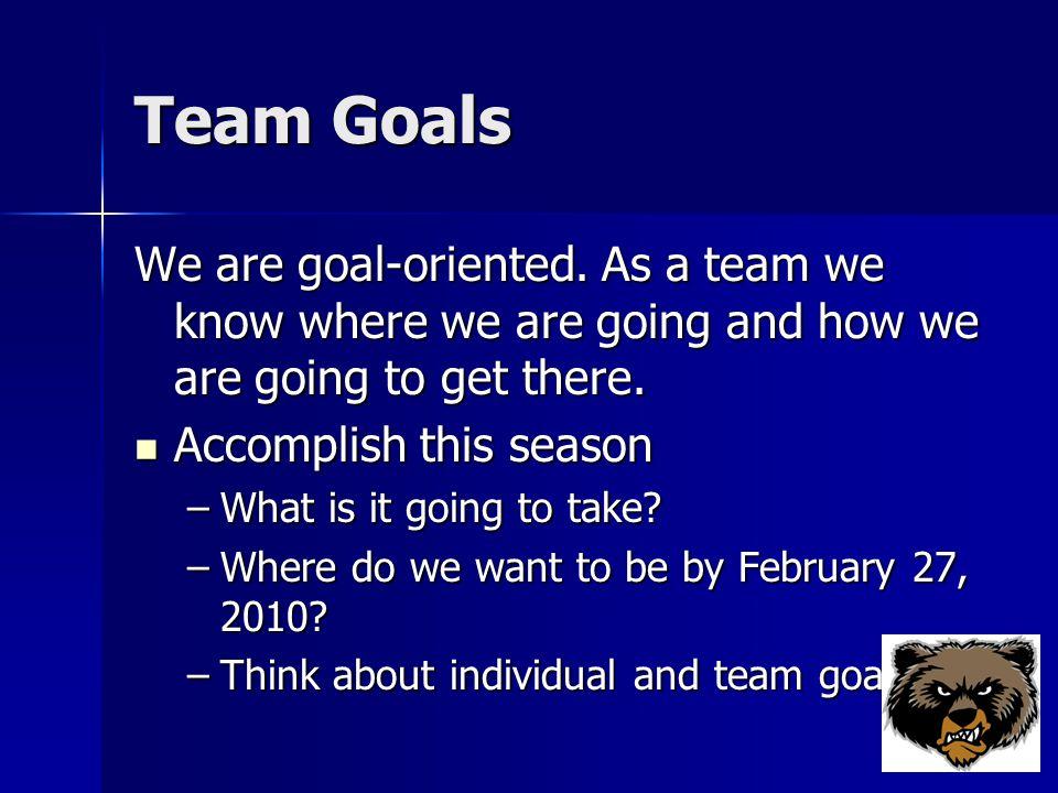 Team Goals We are goal-oriented.