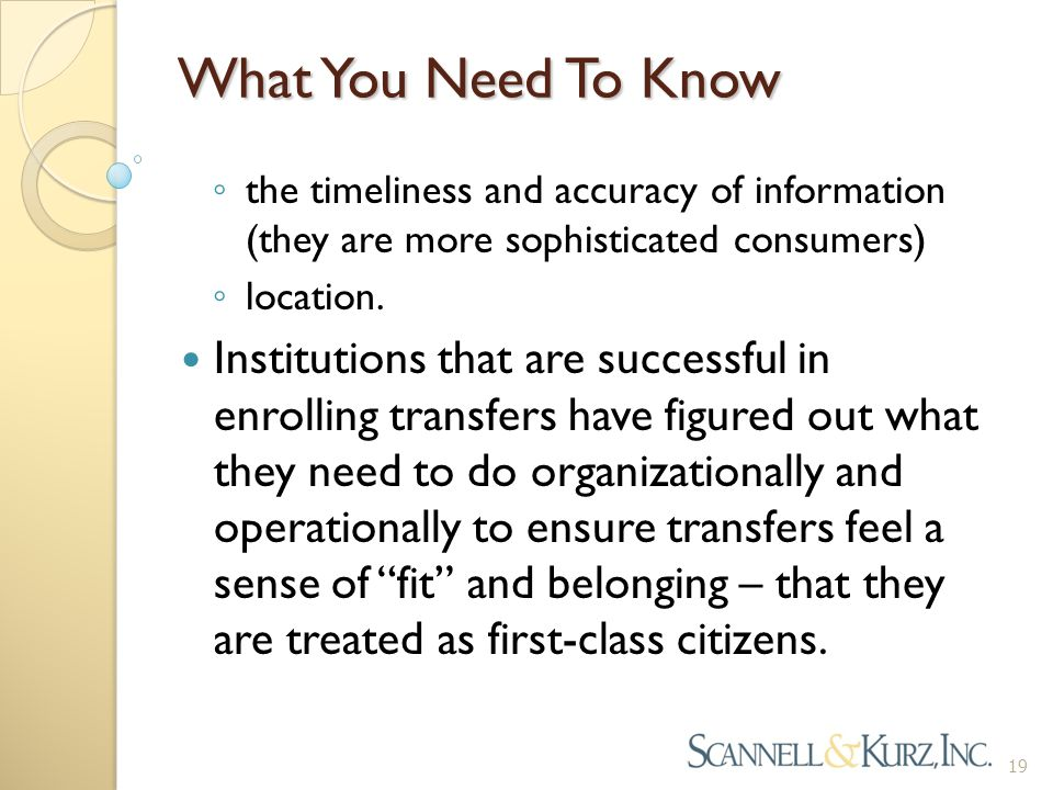 What You Need To Know ◦ the timeliness and accuracy of information (they are more sophisticated consumers) ◦ location. Institutions that are successfu