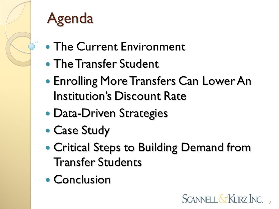 Agenda The Current Environment The Transfer Student The Transfer Student Enrolling More Transfers Can Lower An Institution's Discount Rate Enrolling M
