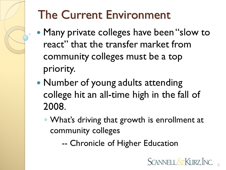 The Current Environment Many private colleges have been slow to react that the transfer market from community colleges must be a top priority.