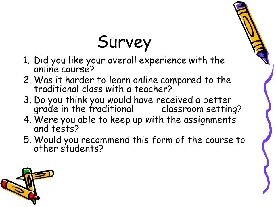 Survey 1.Did you like your overall experience with the online course.