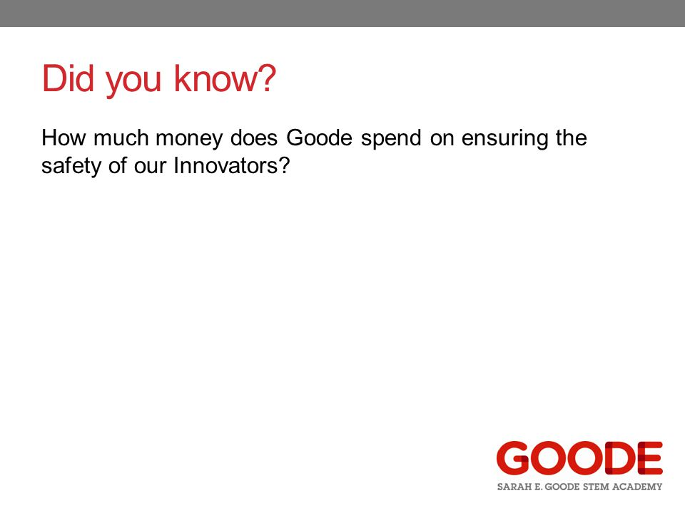 Did you know? How much money does Goode spend on ensuring the safety of our Innovators?
