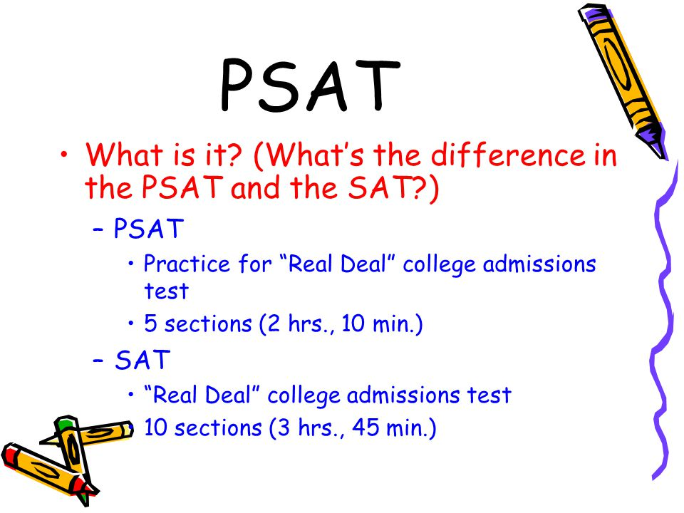 "PSAT What is it? (What's the difference in the PSAT and the SAT?) –PSAT Practice for ""Real Deal"" college admissions test 5 sections (2 hrs., 10 min.)"