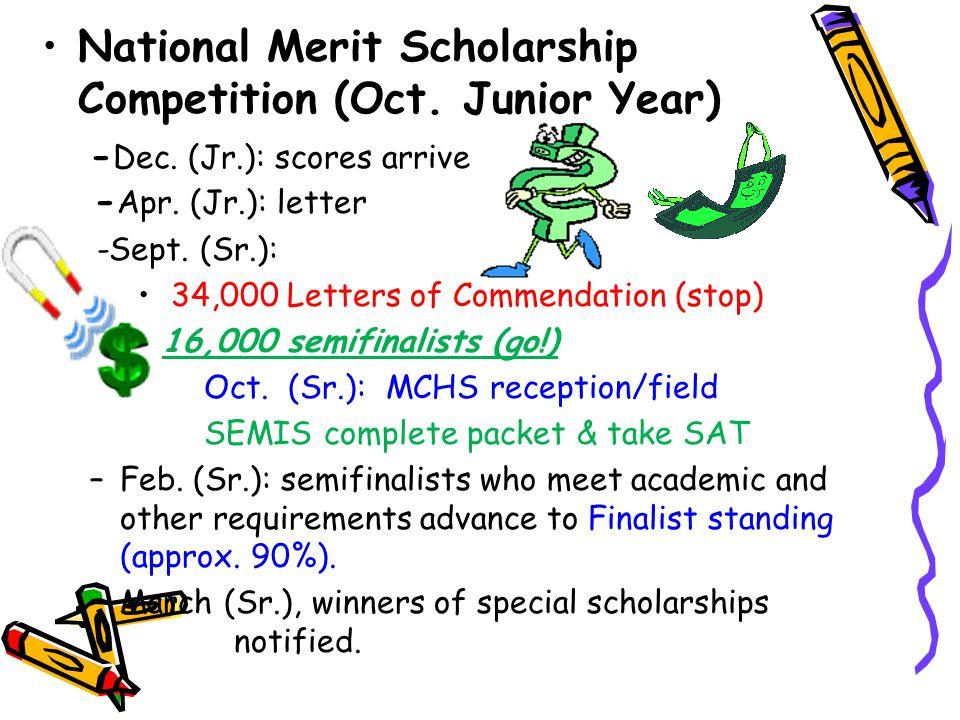 National Merit Scholarship Competition (Oct. Junior Year) - Dec.