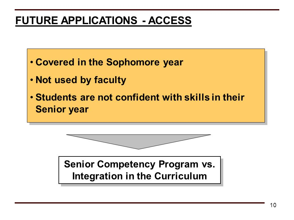 10 FUTURE APPLICATIONS - ACCESS Covered in the Sophomore year Not used by faculty Students are not confident with skills in their Senior year Covered