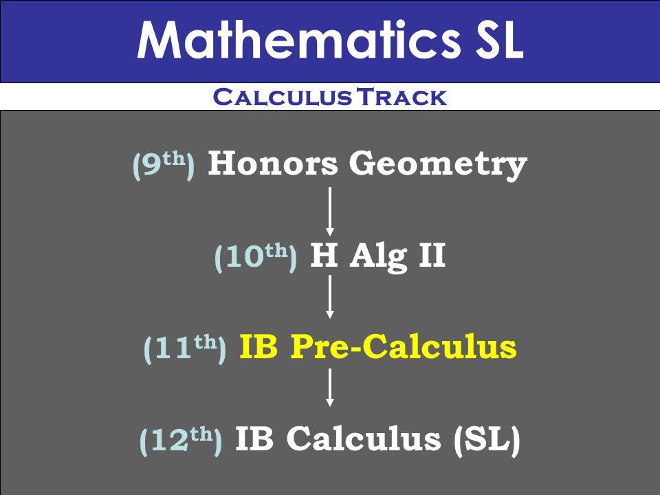 Mathematics SL (9 th ) Honors Geometry (10 th ) H Alg II (11 th ) IB Pre-Calculus (12 th ) IB Calculus (SL) Calculus Track