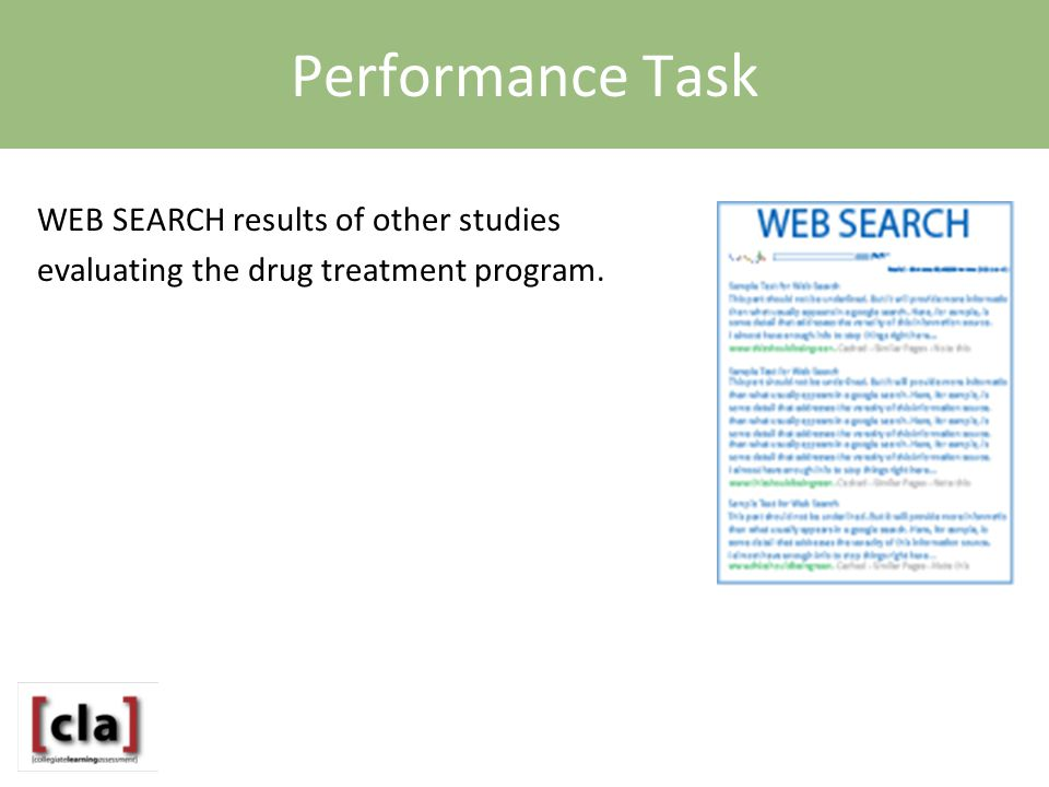 Performance Task WEB SEARCH results of other studies evaluating the drug treatment program.