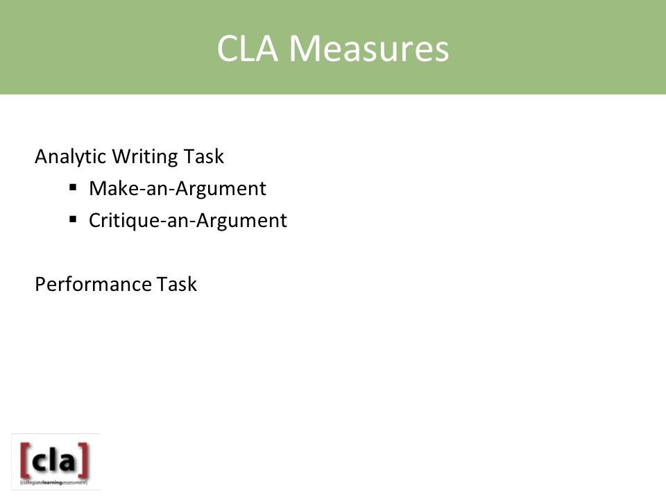 CLA Measures Analytic Writing Task  Make-an-Argument  Critique-an-Argument Performance Task