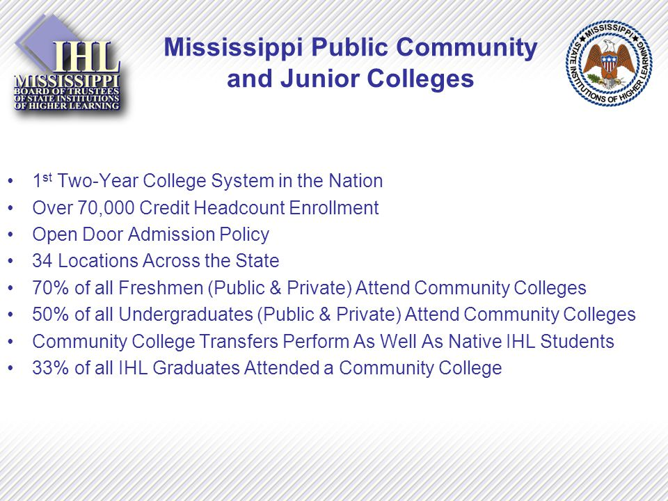 Mississippi Public Community and Junior Colleges 1 st Two-Year College System in the Nation Over 70,000 Credit Headcount Enrollment Open Door Admission Policy 34 Locations Across the State 70% of all Freshmen (Public & Private) Attend Community Colleges 50% of all Undergraduates (Public & Private) Attend Community Colleges Community College Transfers Perform As Well As Native IHL Students 33% of all IHL Graduates Attended a Community College