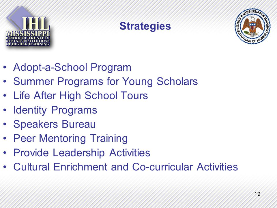 19 Strategies Adopt-a-School Program Summer Programs for Young Scholars Life After High School Tours Identity Programs Speakers Bureau Peer Mentoring Training Provide Leadership Activities Cultural Enrichment and Co-curricular Activities