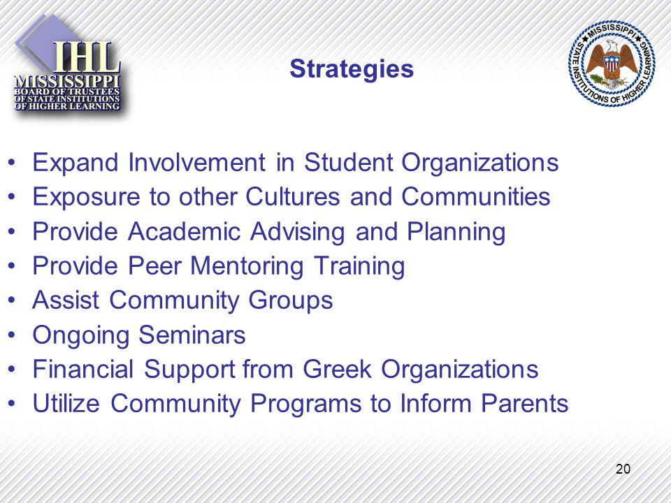 20 Strategies Expand Involvement in Student Organizations Exposure to other Cultures and Communities Provide Academic Advising and Planning Provide Peer Mentoring Training Assist Community Groups Ongoing Seminars Financial Support from Greek Organizations Utilize Community Programs to Inform Parents