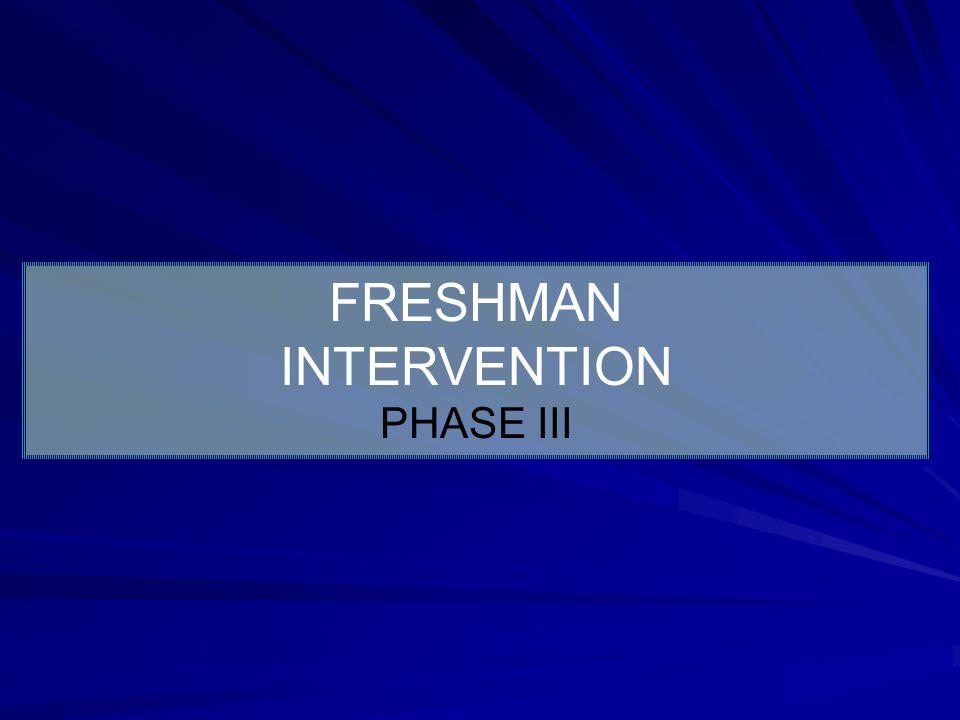 FRESHMAN INTERVENTION PHASE III