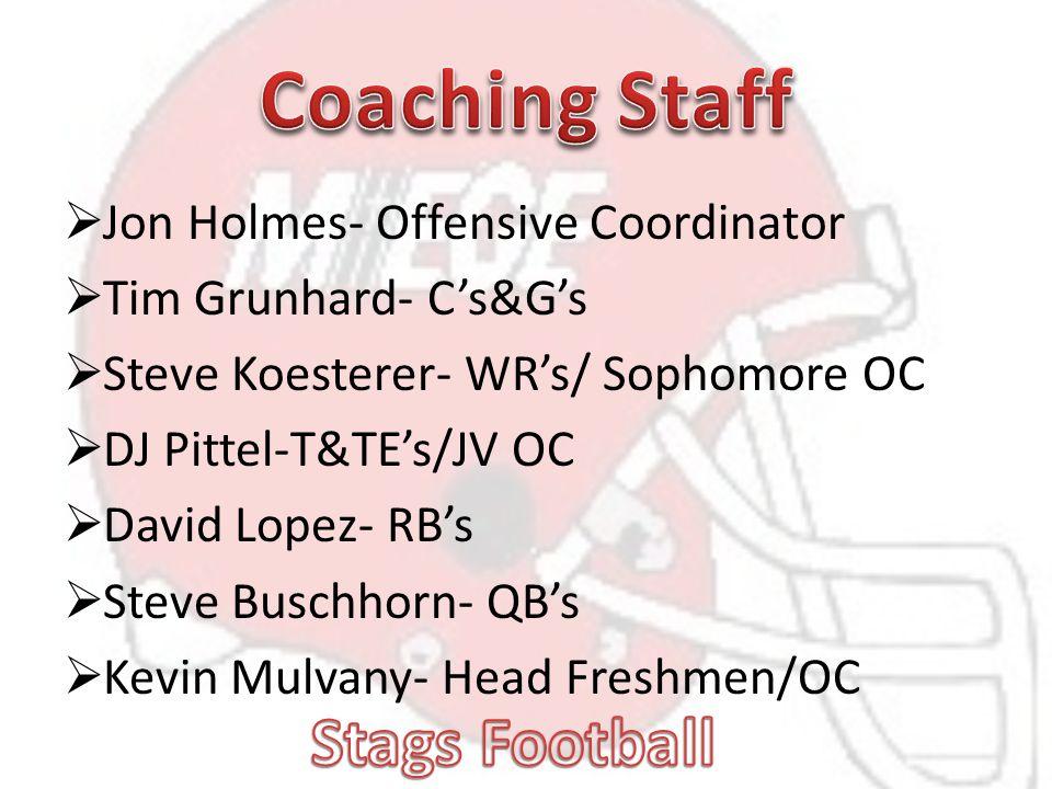  Jon Holmes- Offensive Coordinator  Tim Grunhard- C's&G's  Steve Koesterer- WR's/ Sophomore OC  DJ Pittel-T&TE's/JV OC  David Lopez- RB's  Steve Buschhorn- QB's  Kevin Mulvany- Head Freshmen/OC