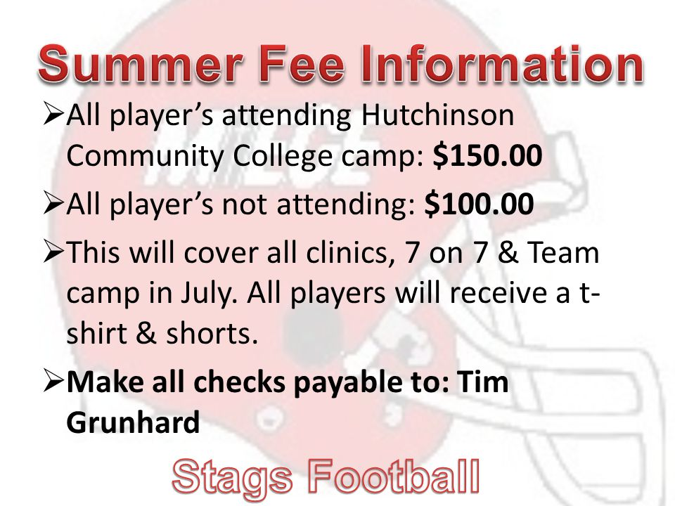  All player's attending Hutchinson Community College camp: $150.00  All player's not attending: $100.00  This will cover all clinics, 7 on 7 & Team camp in July.