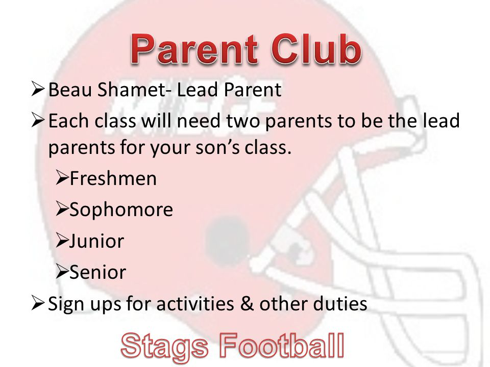  Beau Shamet- Lead Parent  Each class will need two parents to be the lead parents for your son's class.