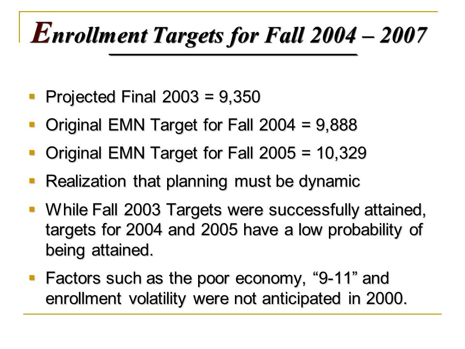 E nrollment Targets for Fall 2004 – 2007  Projected Final 2003 = 9,350  Original EMN Target for Fall 2004 = 9,888  Original EMN Target for Fall 2005 = 10,329  Realization that planning must be dynamic  While Fall 2003 Targets were successfully attained, targets for 2004 and 2005 have a low probability of being attained.