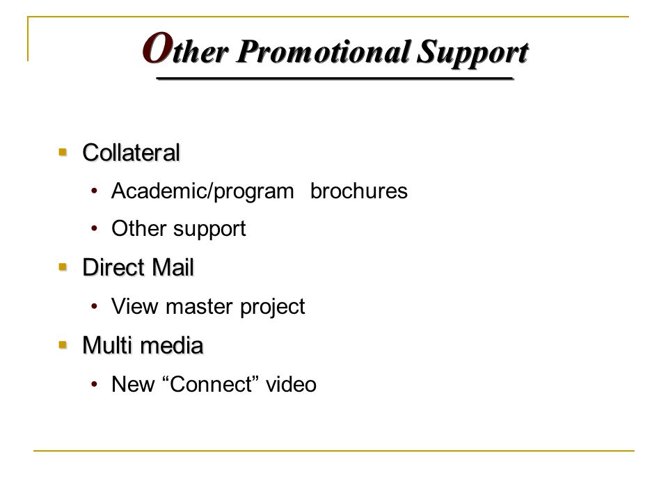 O ther Promotional Support  Collateral Academic/program brochures Other support  Direct Mail View master project  Multi media New Connect video