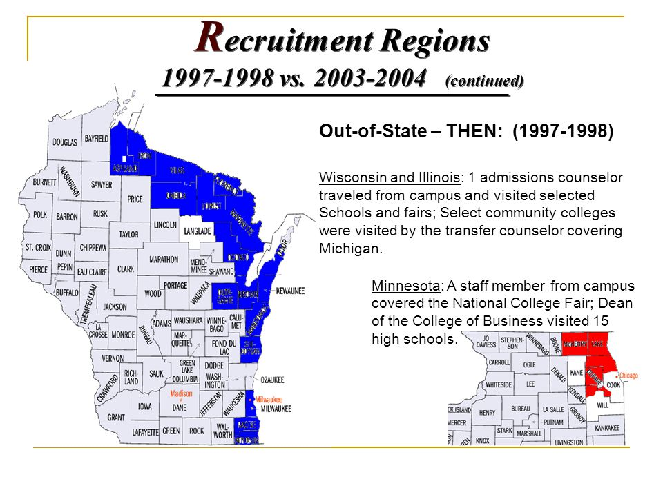 Out-of-State – THEN: (1997-1998) Wisconsin and Illinois: 1 admissions counselor traveled from campus and visited selected Schools and fairs; Select co