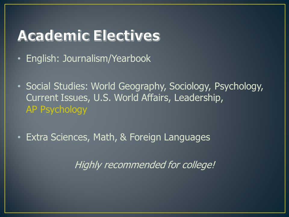 English: Journalism/Yearbook Social Studies: World Geography, Sociology, Psychology, Current Issues, U.S.