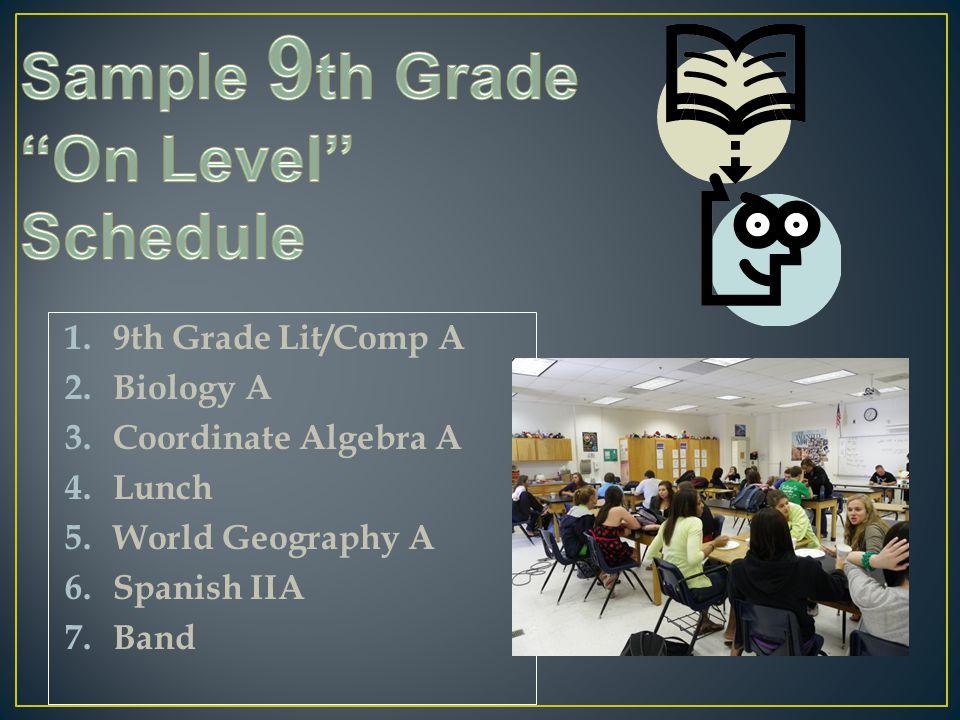 1.9th Grade Lit/Comp A 2.Biology A 3.Coordinate Algebra A 4.Lunch 5.World Geography A 6.Spanish IIA 7.Band