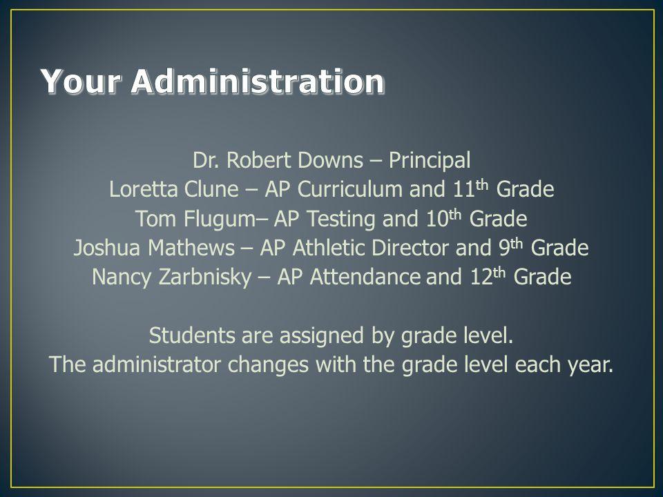 Dr. Robert Downs – Principal Loretta Clune – AP Curriculum and 11 th Grade Tom Flugum– AP Testing and 10 th Grade Joshua Mathews – AP Athletic Directo