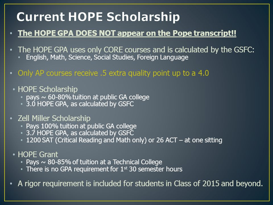 The HOPE GPA DOES NOT appear on the Pope transcript!.