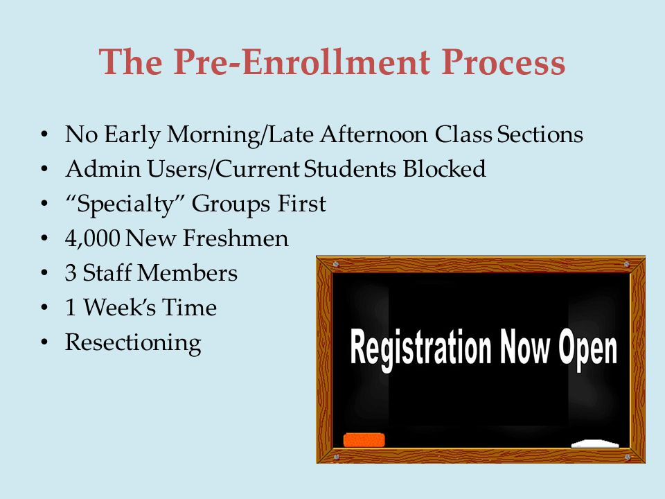 The Pre-Enrollment Process No Early Morning/Late Afternoon Class Sections Admin Users/Current Students Blocked Specialty Groups First 4,000 New Freshmen 3 Staff Members 1 Week's Time Resectioning