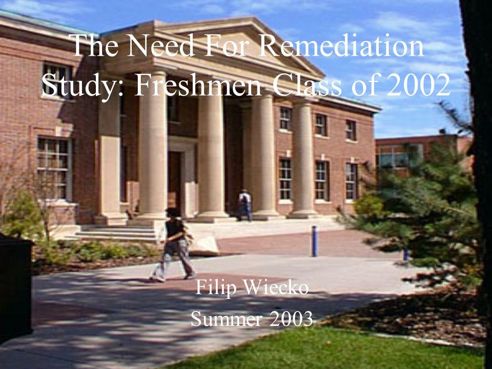 The Need For Remediation Study: Freshmen Class of 2002 Filip Wiecko Summer 2003