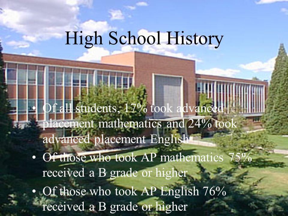 High School History Of all students, 17% took advanced placement mathematics and 24% took advanced placement English Of those who took AP mathematics 75% received a B grade or higher Of those who took AP English 76% received a B grade or higher