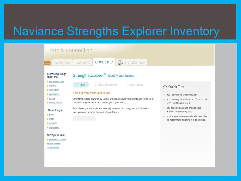 Naviance Strengths Explorer Inventory
