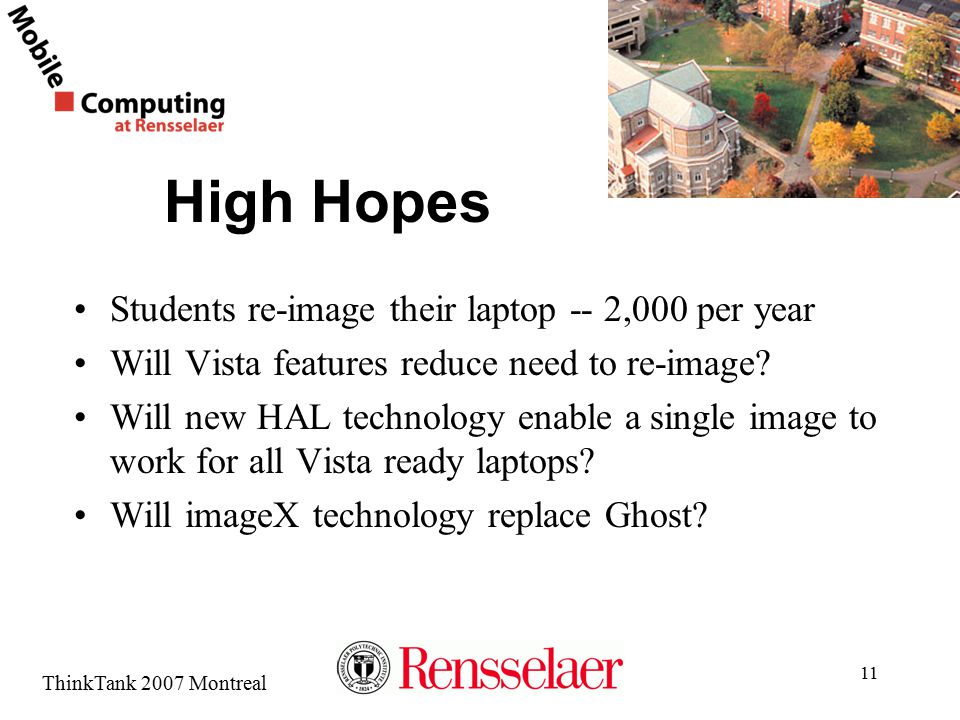 ThinkTank 2007 Montreal High Hopes Students re-image their laptop -- 2,000 per year Will Vista features reduce need to re-image? Will new HAL technolo