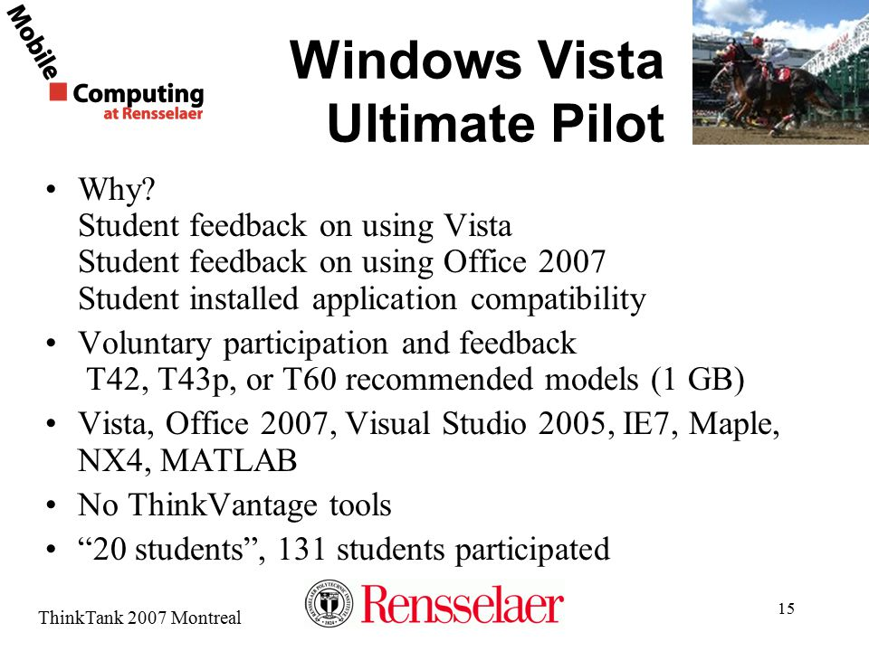 ThinkTank 2007 Montreal 15 Windows Vista Ultimate Pilot Why? Student feedback on using Vista Student feedback on using Office 2007 Student installed a