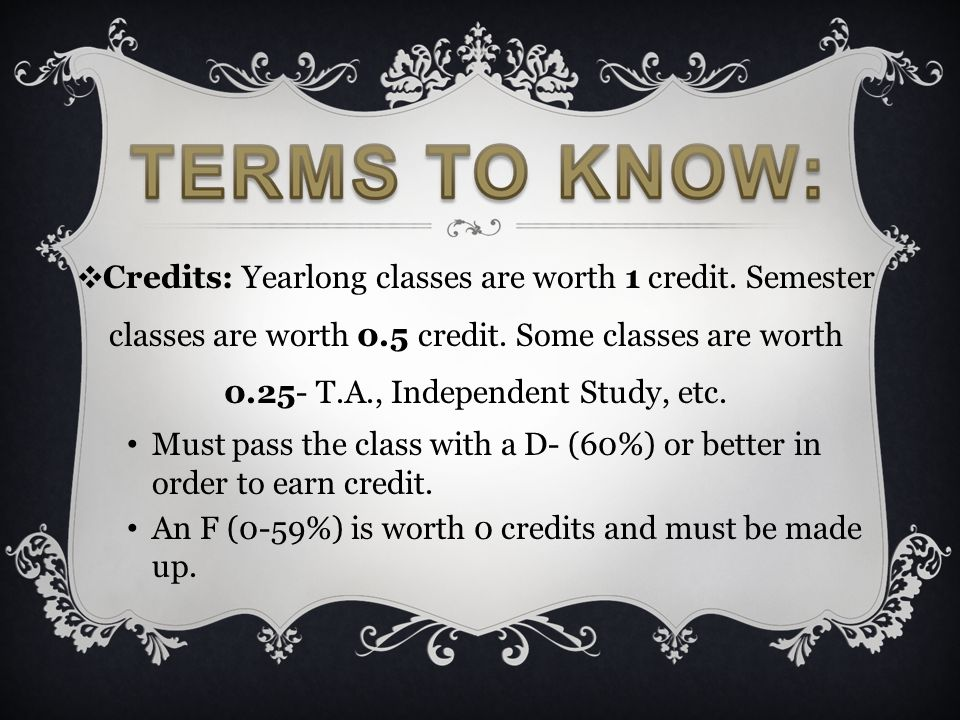 ❖ Credits: Yearlong classes are worth 1 credit. Semester classes are worth 0.5 credit. Some classes are worth 0.25- T.A., Independent Study, etc. Must