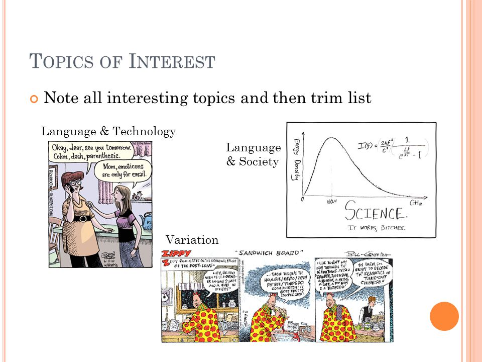 T OPICS OF I NTEREST Note all interesting topics and then trim list Language & Technology Variation Language & Society