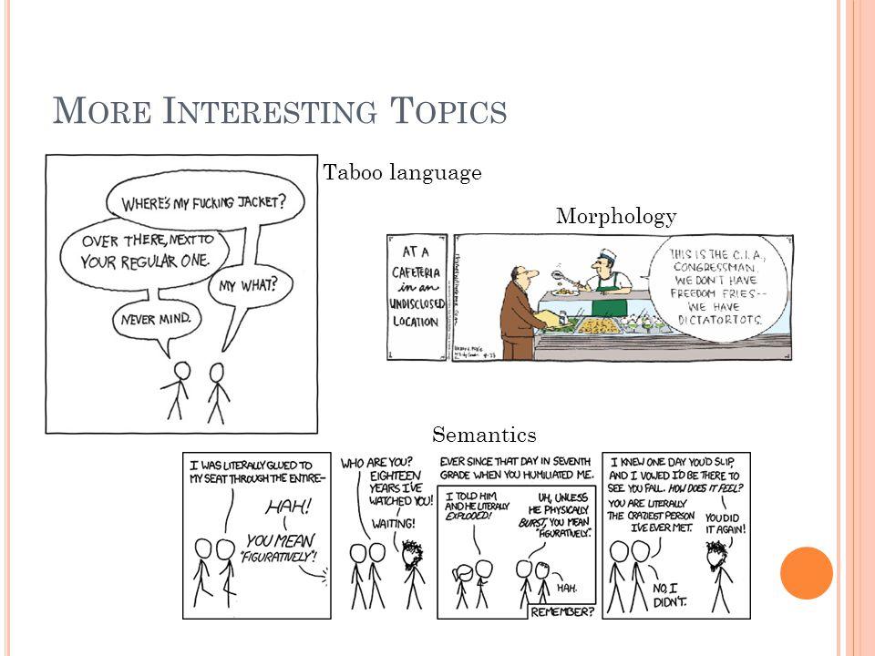 M ORE I NTERESTING T OPICS Taboo language Morphology Semantics