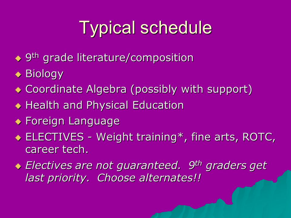 Typical schedule  9 th grade literature/composition  Biology  Coordinate Algebra (possibly with support) ‏  Health and Physical Education  Foreign Language  ELECTIVES - Weight training*, fine arts, ROTC, career tech.