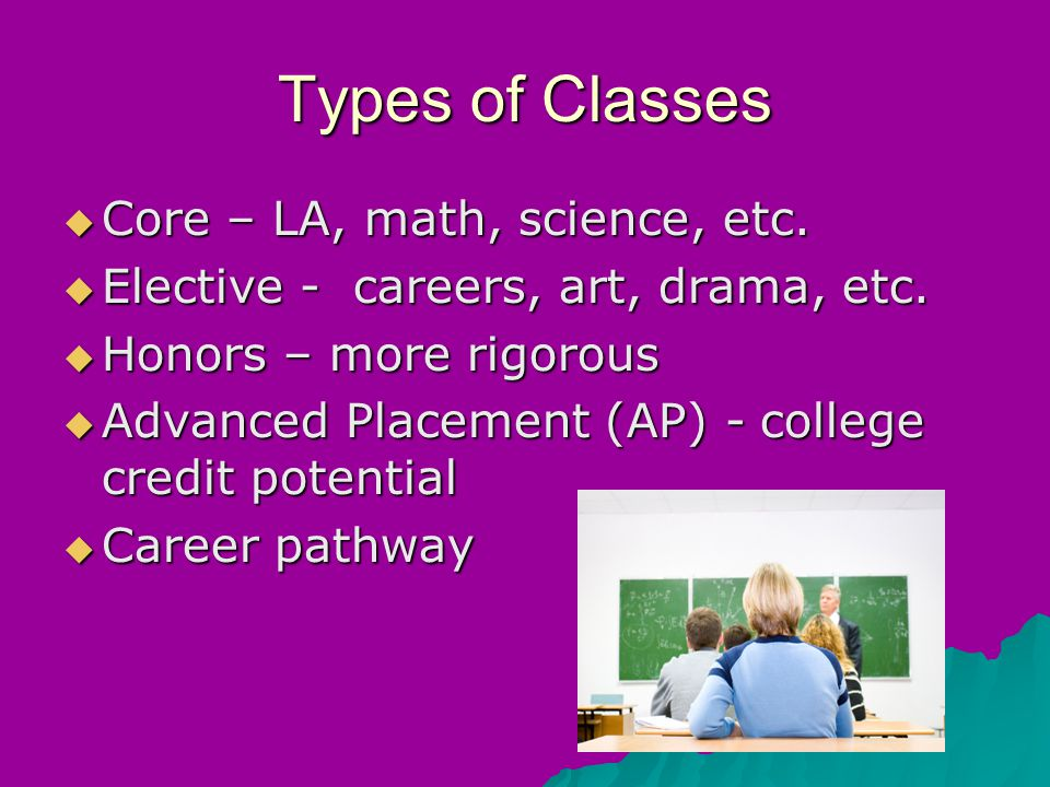 Types of Classes  Core – LA, math, science, etc.  Elective - careers, art, drama, etc.