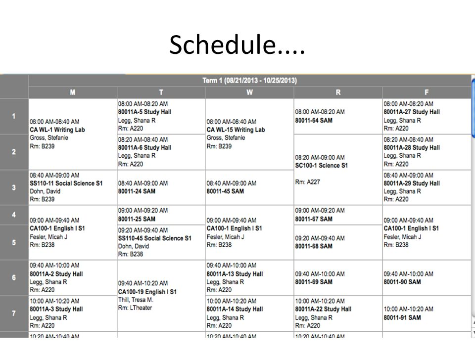 Schedule....