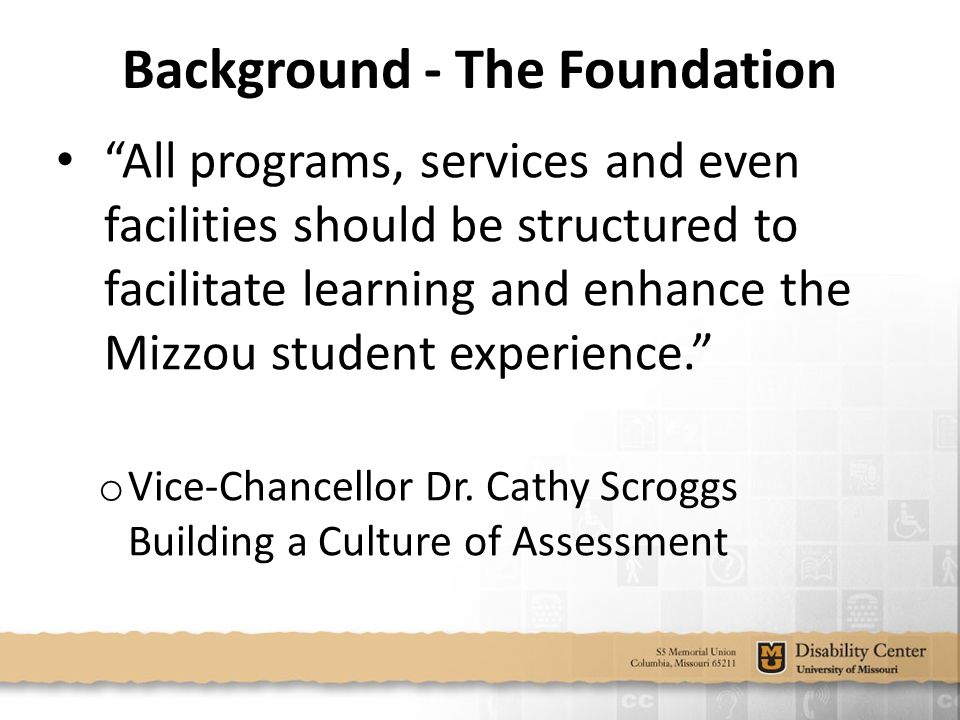 Background - The Foundation All programs, services and even facilities should be structured to facilitate learning and enhance the Mizzou student experience. o Vice-Chancellor Dr.